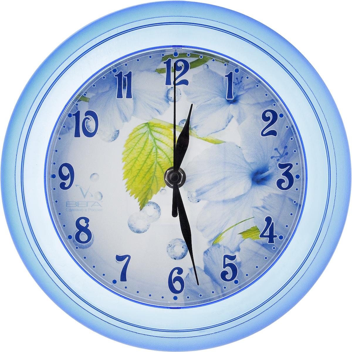 Часы настенные Вега Листок, диаметр 22,5 смП6-4-3Настенные кварцевые часы Вега Листок в классическом дизайне, изготовленные из пластика, прекрасно впишутся в интерьер вашего дома. Круглые часы имеют три стрелки: часовую, минутную и секундную, циферблат защищен прозрачным стеклом. Часы работают от 1 батарейки типа АА напряжением 1,5 В (не входит в комплект). Диаметр часов: 22,5 см.