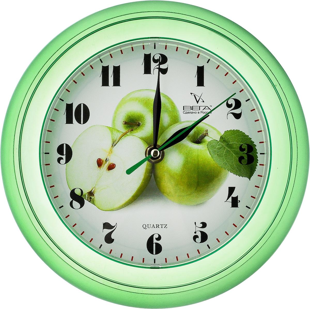Часы настенные Вега Яблоки, диаметр 22,5 смП6-3-6Настенные кварцевые часы Вега Яблоки, изготовленные из пластика, прекрасно впишутся в интерьер вашего дома. Круглые часы имеют три стрелки: часовую, минутную и секундную, циферблат защищен прозрачным стеклом. Часы работают от 1 батарейки типа АА напряжением 1,5 В (не входит в комплект). Диаметр часов: 22,5 см.