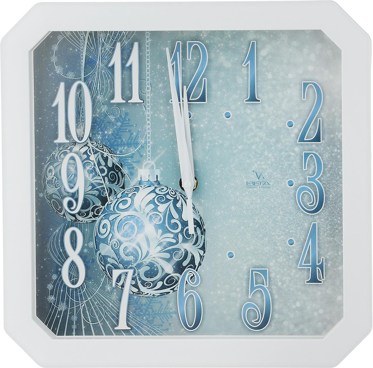Часы настенные Вега Шары, 28 х 28 х 4 см94672Настенные кварцевые часы Вега Шары, изготовленные из пластика, прекрасно впишутся в интерьер вашего дома. Часы имеют три стрелки: часовую, минутную и секундную, циферблат защищен прозрачным стеклом. Часы работают от 1 батарейки типа АА напряжением 1,5 В (не входит в комплект).