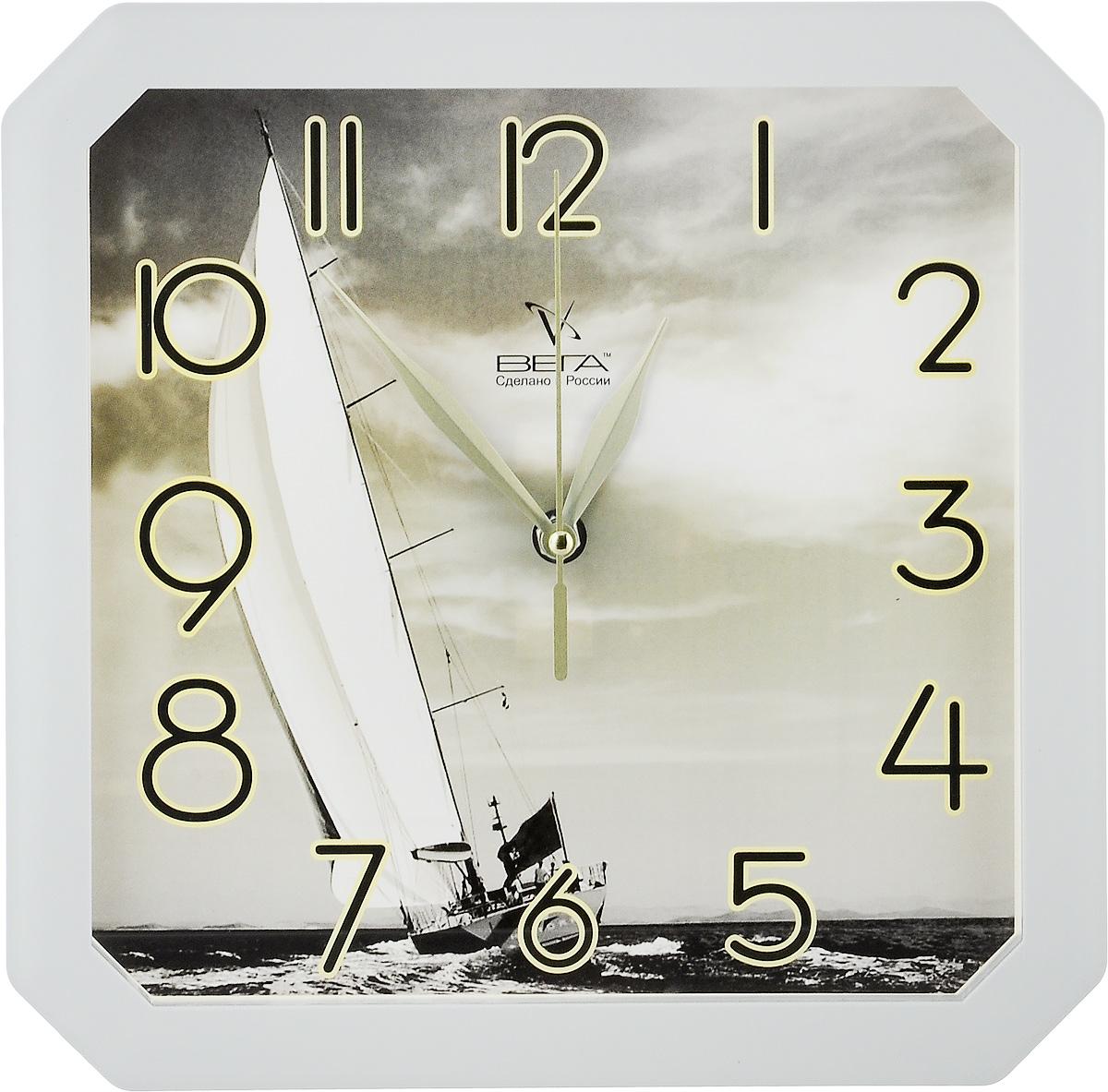 Часы настенные Вега Яхта, 28 х 28 х 4 смП4-5/7-7Настенные кварцевые часы Вега Яхта, изготовленные из пластика, прекрасно впишутся в интерьер вашего дома. Часы имеют три стрелки: часовую, минутную и секундную, циферблат защищен прозрачным стеклом. Часы работают от 1 батарейки типа АА напряжением 1,5 В (не входит в комплект).