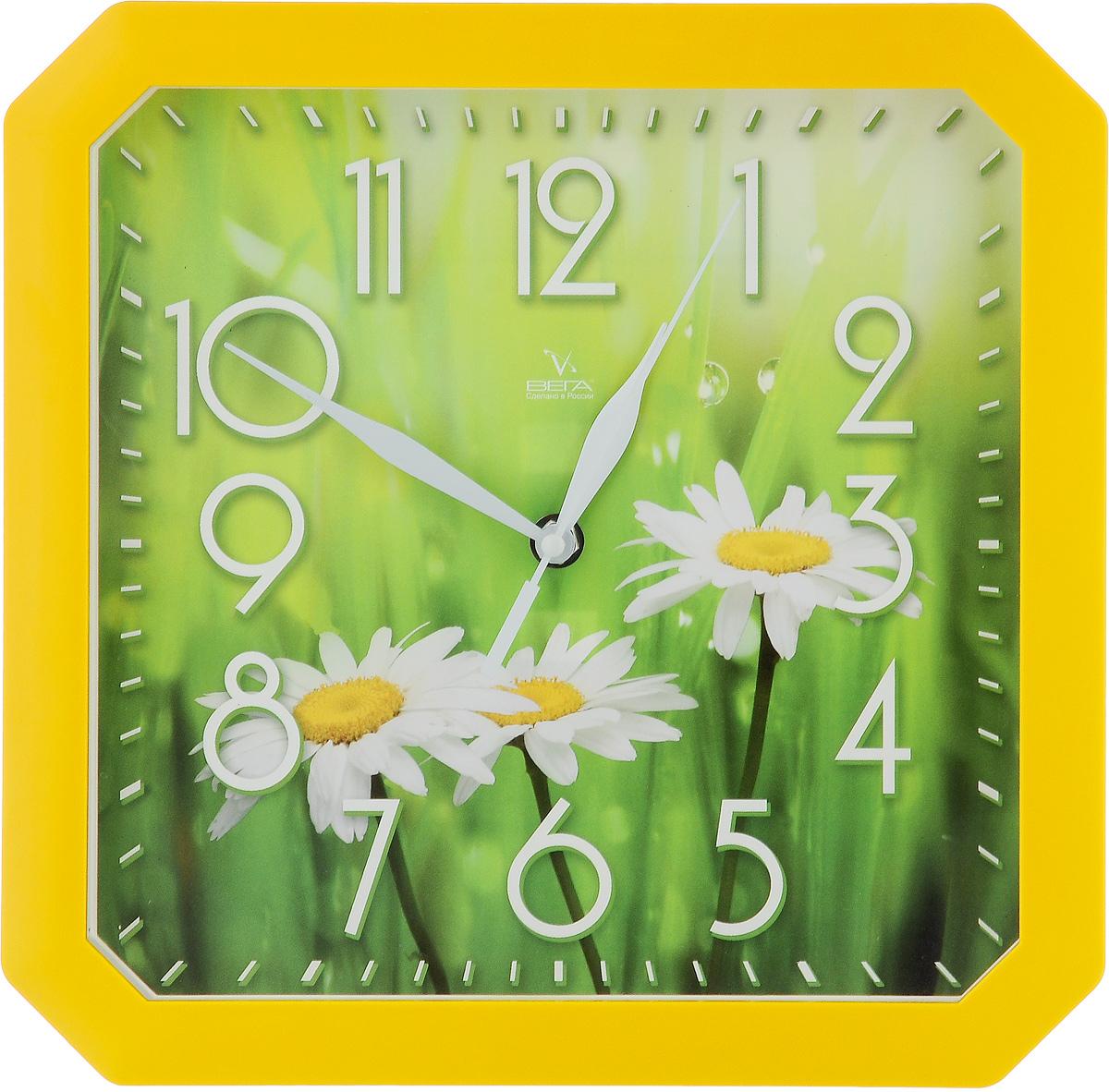 Часы настенные Вега Три ромашки, 28 х 28 х 4 смП4-2/7-84Настенные кварцевые часы Вега Три ромашки, изготовленные из пластика, прекрасно впишутся в интерьер вашего дома. Часы имеют три стрелки: часовую, минутную и секундную, циферблат защищен прозрачным стеклом. Часы работают от 1 батарейки типа АА напряжением 1,5 В (не входит в комплект).