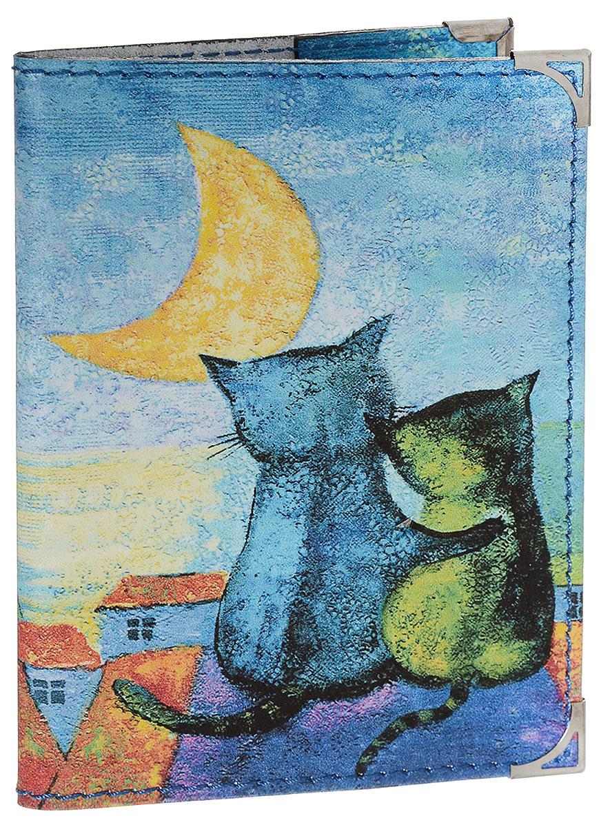 Обложка для паспорта BORЯN На крыше, цвет: синий, желтый, оранжевый. Авторская работа. BR502BR502Обложка для паспорта BORЯN На крыше выполнена из натуральной кожи. Оформлена модель оригинальным принтом. Внутри - захваты из натуральной кожи.
