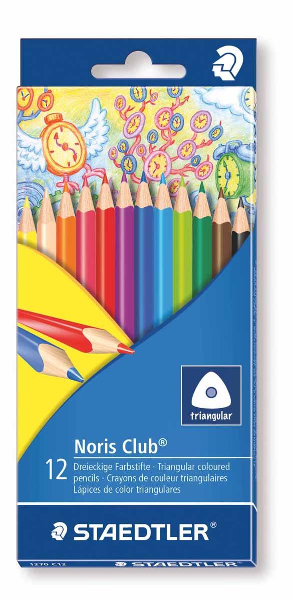 Staedtler Набор цветных карандашей Noris Club 12 цветов 1270C121270C12Цветные карандаши Staedtler Noris Club обладают классической трехгранной формой. Разработанные специально для детей, они имеют мягкий грифель и насыщенные цвета, а белое защитное покрытие грифеля (А·B·S) делает его более устойчивым к повреждению. С цветными карандашами Noris Club ваши дети будут создавать яркие и запоминающиеся рисунки.