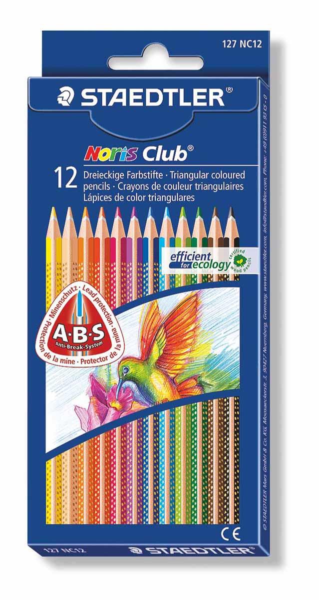 Staedtler Набор цветных карандашей Noris Club 12 цветов72523WDЦветные карандаши Staedtler Noris Club обладают классической трехгранной формой. Разработанные специально для детей, они имеют мягкий грифель и насыщенные цвета, а белое защитное покрытие грифеля (А·B·S) делает его более устойчивым к повреждению.С цветными карандашами Noris Club ваши дети будут создавать яркие и запоминающиеся рисунки.