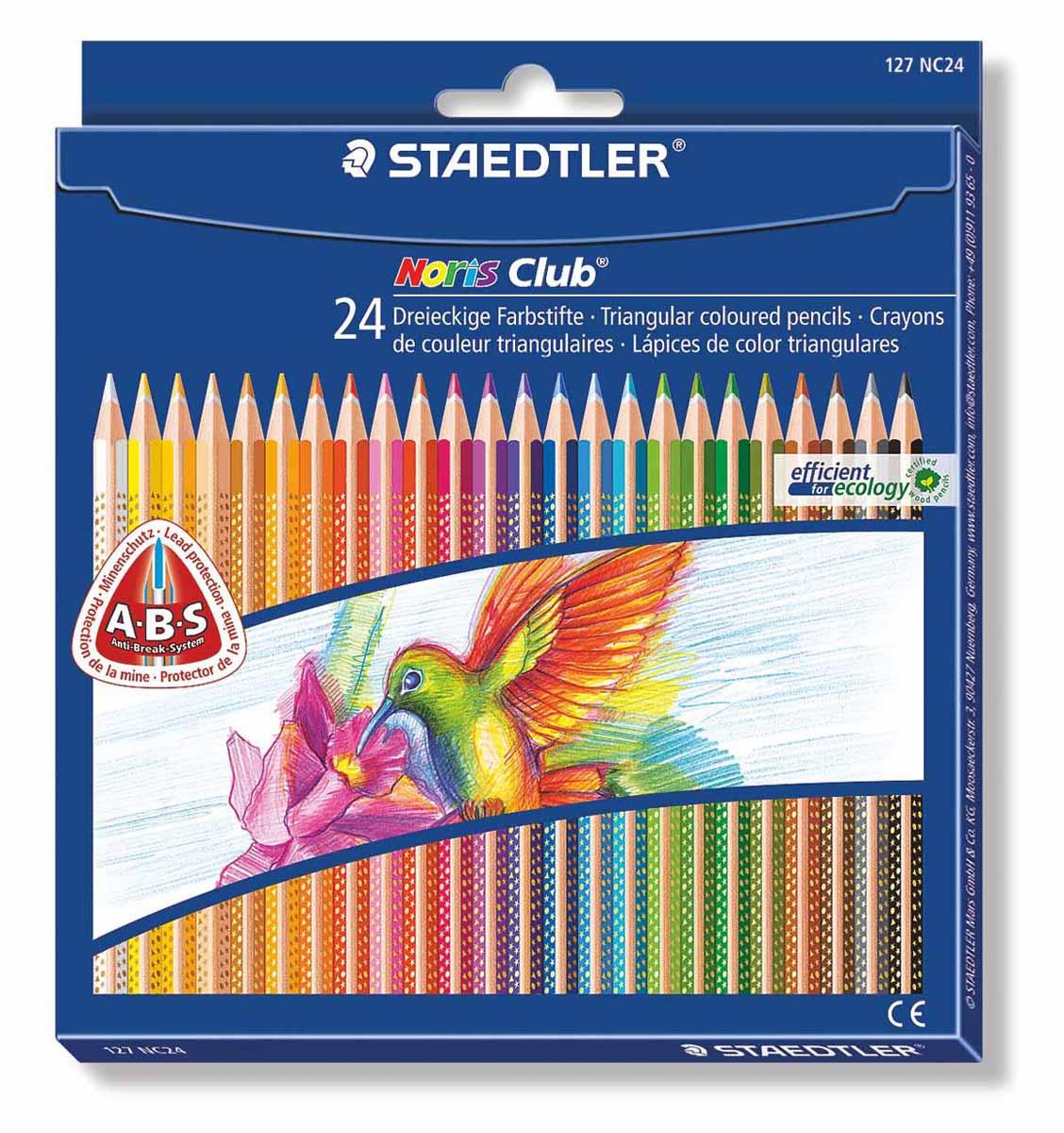 Staedtler Набор цветных карандашей Noris Club 24 цвета127NC24Цветные карандаши Staedtler Noris Club обладают трехгранной формой. Разработанные специально для детей, они имеют мягкий грифель и насыщенные цвета, а белое защитное покрытие грифеля (А·B·S) делает его более устойчивым к повреждению. С цветными карандашами Noris Club ваши дети будут создавать яркие и запоминающиеся рисунки. В наборе 24 карандаша.