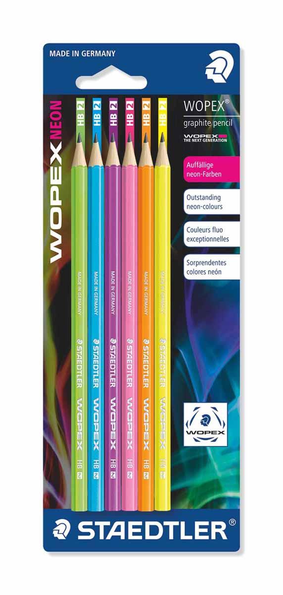 Staedtler Набор чернографитовых карандашей Wopex NEON HB 6 шт72523WDНабор высококачественных чернографитовых карандашей Staedtler Neon изготовленных из уникального материала Wopex, который на 70% состоит из древесины.Отличаются особой прочностью, устойчивы к поломкам и имеют ударопрочный грифель.Шестигранный корпус мягкий и бархатистый на ощупь, карандаш не скользит в руке.В наборе 6 карандашей.