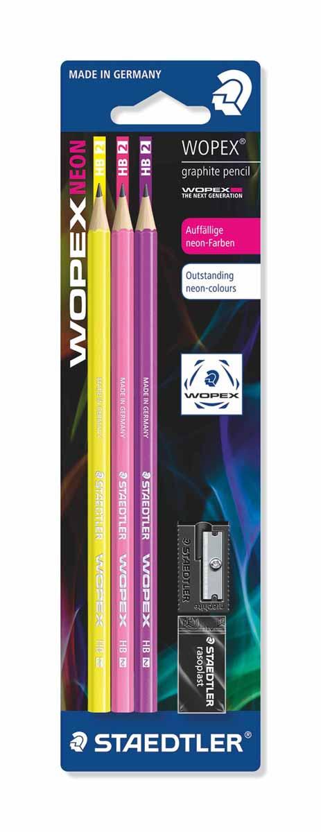Staedtler Набор чернографитовых карандашей Wopex NEON HB 3 шт610842Набор высококачественных чернографитовых карандашей Staedtler Neon изготовленных из уникального материала Wopex, который на 70% состоит из древесины.Отличаются особой прочностью, устойчивы к поломкам и имеют ударопрочный грифель.Шестигранный корпус мягкий и бархатистый на ощупь, карандаш не скользит в руке.