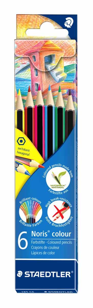 Staedtler Набор цветных карандашей Noris Colour Wopex 6 цветов185C6Новые цветные карандаши Staedtler Noris Color изготовлены из нового природного волокнистого материала: 70% древесины + пластиковый композит. Высокое качество письма, рисования, эскизов. Нескользящая, бархатистая поверхность; особенно ударопрочный корпус и грифель; гладкое письмо. Инновационный, однородный материал Wopex обеспечивает исключительно гладкую и ровную заточку с любым качеством точилки. Текст и рисунки легко стереть.