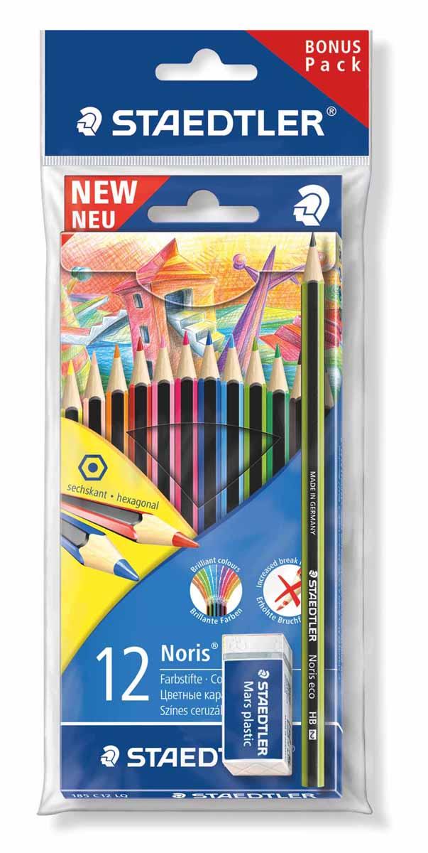 Staedtler Набор цветных карандашей Wopex 12 цветов с чернографитным карандашом 180 30-НВ и ластиком 185SET1LQ