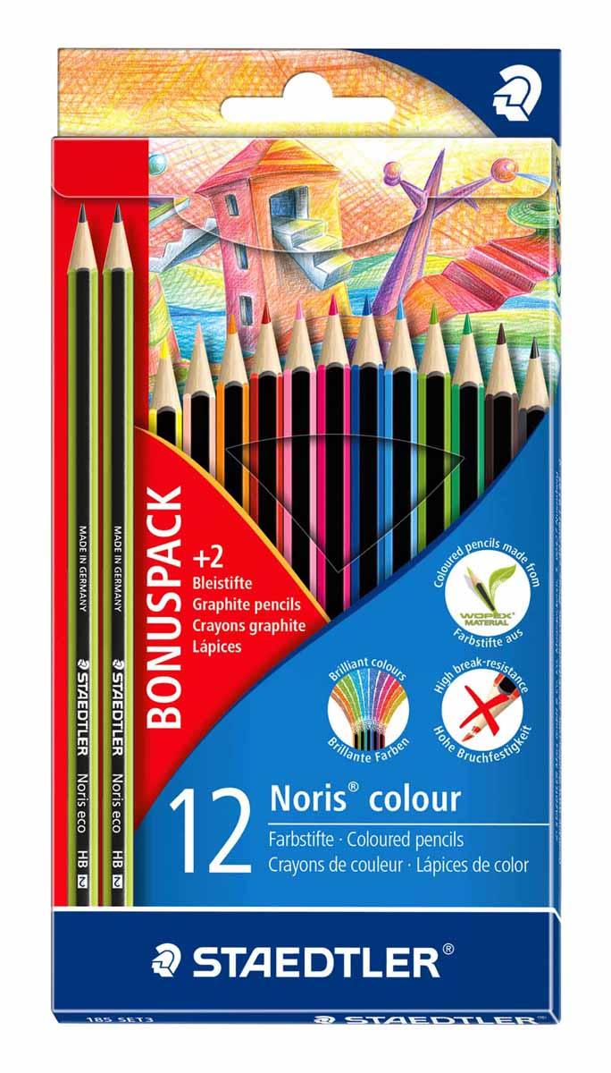 Staedtler Набор цветных карандашей WOPEX 12 цветов с 2 чернографитными карандашами 180 30-HB185SET3Новый промонабор Noris colour для рисования от Staedtler в спец. экономичной упаковке c подвесом. Включает 3 предмета по цене 1: 1 уп. - цветные карандаши 185 С12; 2 шт. - чернограф. карандаши 180 30-HB.