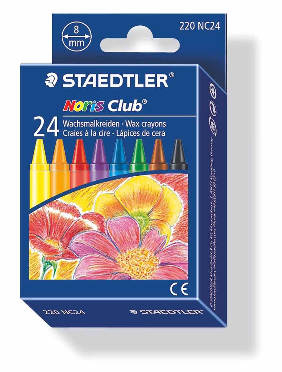 Staedtler Набор восковых мелков Noris Club 24 цвета220NC24Набор восковых мелков Staedtler Noris Club содержит 24 ярких насыщенных цвета и оттенка. Мелки предназначены для рисования по бумаге, картону, стеклу, керамике, пластику. Не токсичны и абсолютно безопасны. Каждый мелок обернут в бумажную гильзу. Диаметр каждого мелка - 8 мм.