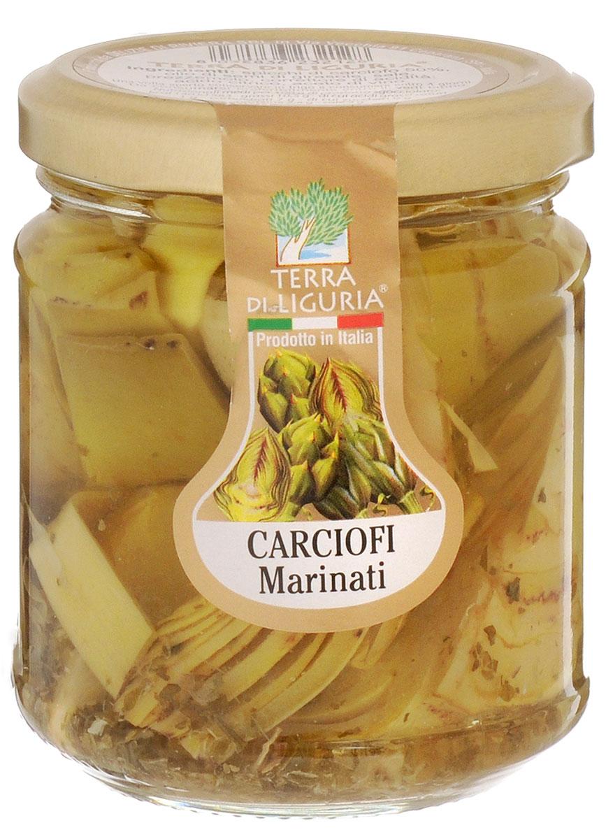 Terra Di Liguria артишоки маринованные в масле, 180 г0120710В Италии артишоки часто употребляют как отдельное блюдо. Могут использовать их и в салатах, в гарнирах к рыбе или мясу, в соусах для пасты. Артишоки - идеальный вариант для тех, кто сидит на диете. Низкокалорийные, они обладают богатейшим запасом белков, витаминов, кислот.Уважаемые клиенты! Обращаем ваше внимание, что полный перечень состава продукта представлен на дополнительном изображении.