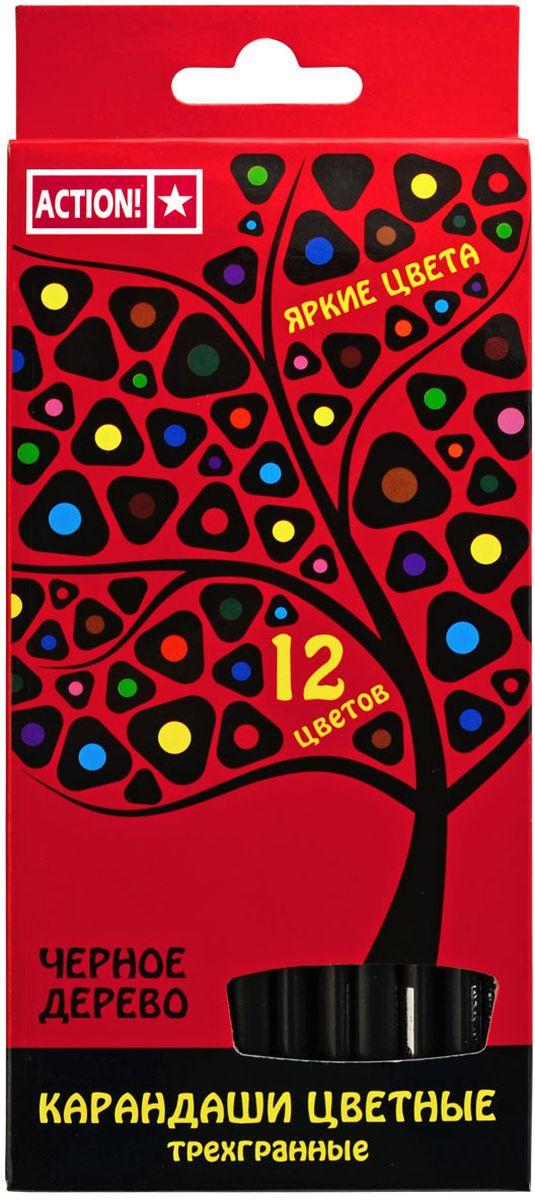 Action! Набор цветных карандашей Черное дерево 12 цветовACP505-12Трехгранный корпус. Выполнены из черного дерева. 12 цветов. В картонной коробке с европодвесом.