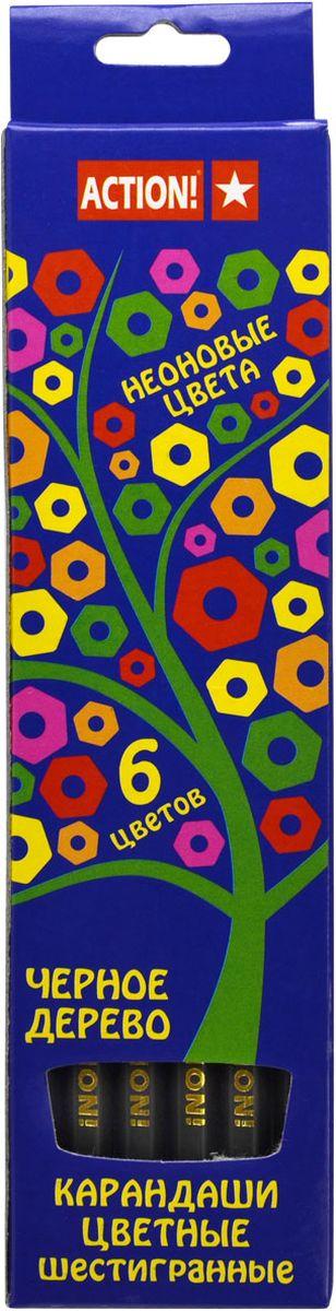 Action! Набор цветных карандашей Неон 6 цветовACP605-6Шестигранный корпус. Неоновые цвета. 6 цветов. В картонной коробке с европодвесом.