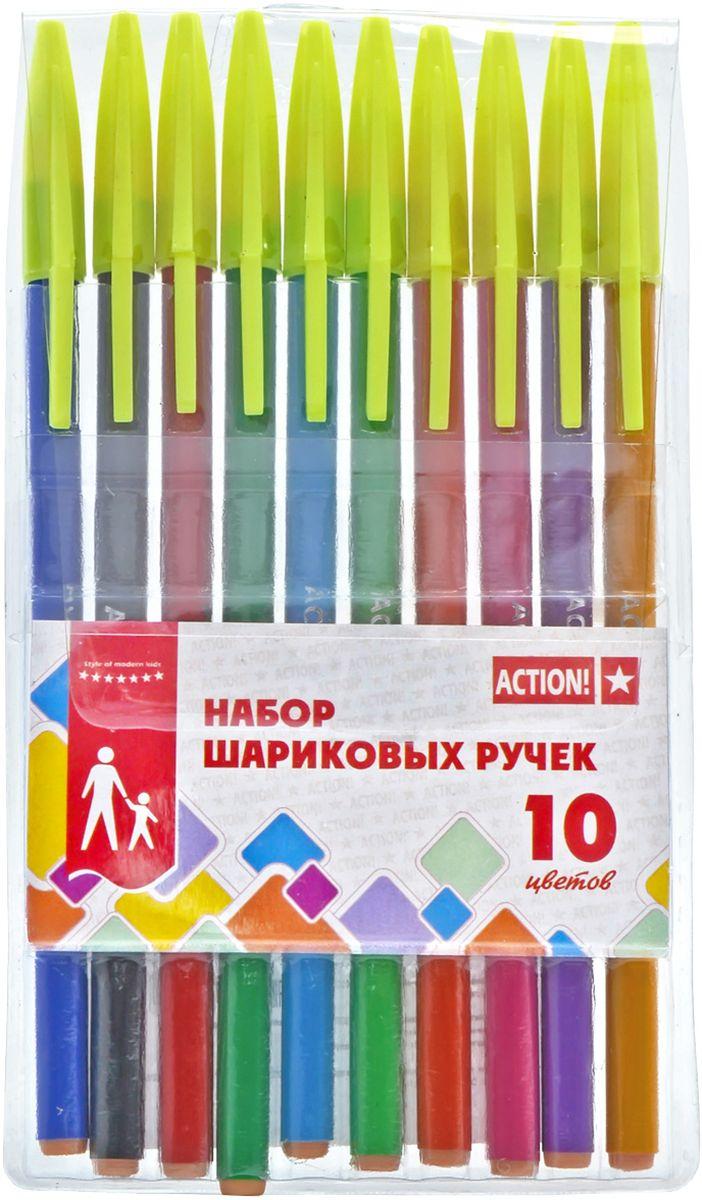 Action! Набор шариковых ручек 10 цветов ABP100272523WDНабор Action! содержит шариковые ручки 10 ярких сочных цветов. Ручки выполнены в корпусах из цветного пластика (цвет корпуса соответствует цвету чернил).