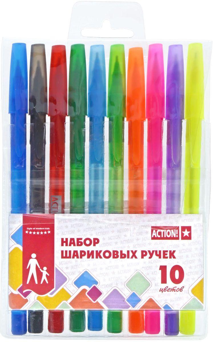 Action! Набор шариковых ручек 10 цветов ABP100472523WDПластиковый цветной матовый корпус в цвет чернил, резиновый упор под пальцы. Диаметр шарика – 0,5 мм. 10 цветов. В ПВХ-пенале с европодвесом.