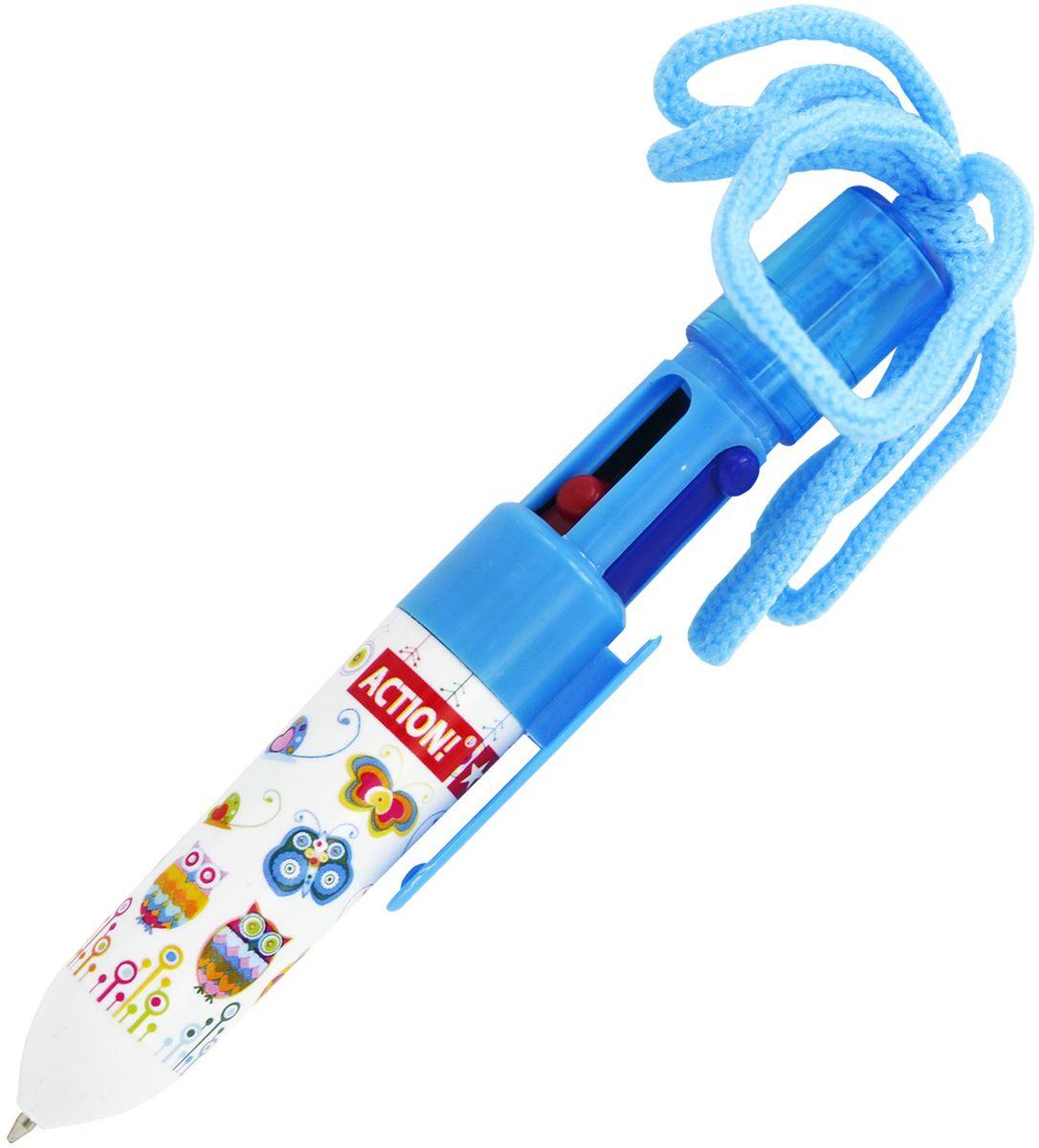 Action! Ручка шариковая на шнурке 4 цветаABP202/4Пластиковый корпус. 4 цвета в одной ручке: черный, синий, зеленый, красный. На шнурке. Диаметр шарика - 0,7 мм. В пакете с европодвесом.