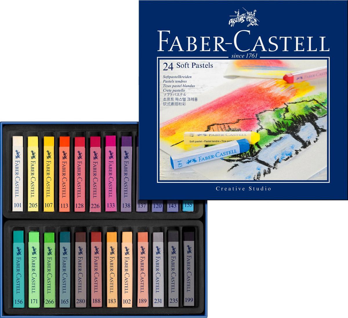 Мягкие мелки Faber-Castell Studio Quality Soft Pastels, 24 штPP-220Набор Faber-Castell Studio Quality Soft Pastels содержит мягкие мелки квадратной формы 24 ярких насыщенных цветов. Каждый мелок обернут в бумажную гильзу. Мелки великолепного качества не крошатся при работе, обладают отличными кроющими свойствами, обеспечивают хорошее сцепление с поверхностью, яркость и долговечность изображения. Мягкими мелками Faber-Castell Studio Quality Soft Pastels можно рисовать в любой технике, сочетая их с цветными карандашами и красками.