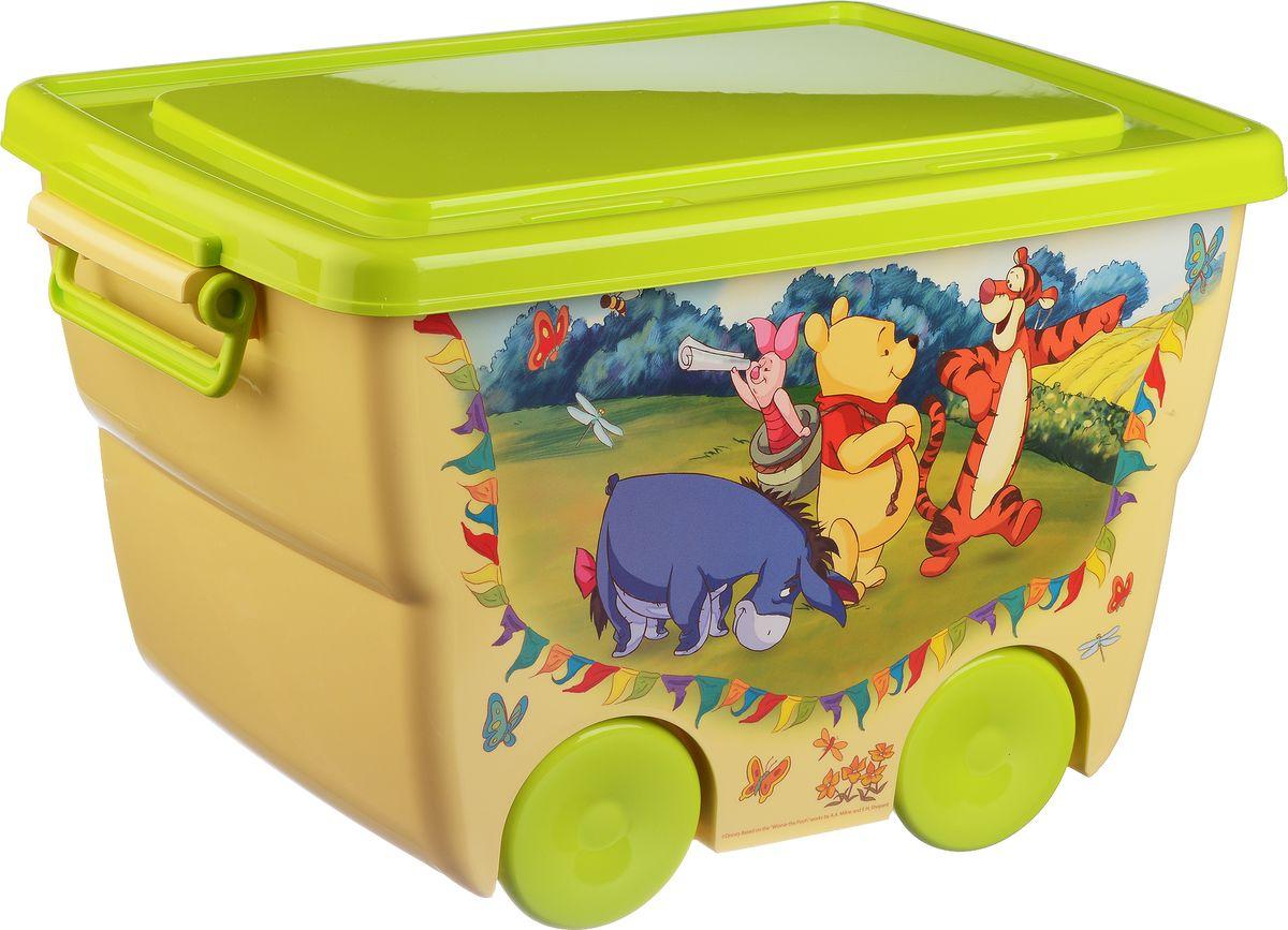 Disney Ящик для игрушек цвет желтый салатовый 45,5 х 32,5 х 28,5 см10503Яркий и оригинальный ящик на колесах с забавными персонажами непременно привлечет внимание ребенка и станет незаменимым для хранения игрушек, книжек и других детских принадлежностей. Он отлично впишется в детскую комнату и поможет приучить ребенка к порядку.У ящика имеются удобные ручки для переноски, а также специальные отверстия, через которые можно продеть тесьму или веревку, чтобы ребенок мог легко передвигать его. Крышка ящика закрывается на защелки. Ящик безопасен благодаря своей форме с закругленными углами.Конструкция замков позволяет фиксировать крышку, что препятствует попаданию пыли, влаги, насекомых.