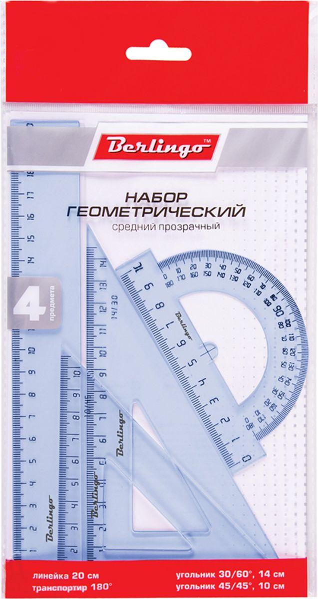 Berlingo Геометрический набор цвет прозрачный 4 предмета RS_00304RS_00304Геометрический набор Berlingo выполнен из прочного пластика. Набор включает в себя все, что необходимо школьнику: линейку 20 см, транспортир на 180 градусов, два треугольника (11 см, 8 см). Каждый чертежный инструмент имеет свои функциональные особенности, что делает работу с ними особенно удобной и легкой.