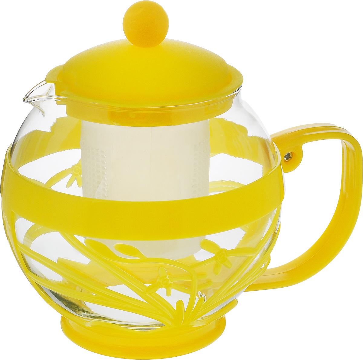"""Чайник заварочный Wellberg """"Aqual"""", с фильтром, цвет: прозрачный, желтый, 800 мл 361 WB_желтый"""