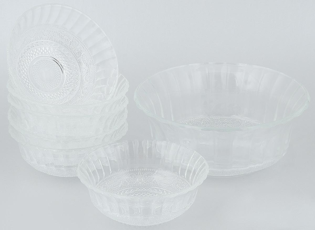 Набор салатников Wellberg, 7 предметов. 50452WBVT-1520(SR)Набор Wellberg включает в себя 6 маленьких салатников и 1 большой. Изделия выполнены из высококачественного стекла. Салатники отлично подойдут для сервировки стола. Оригинальность дизайна набора всем придется по вкусу.Салатники можно мыть в посудомоечной машине.Диаметр большого салатника по верхнему краю: 22,5 см.Диаметр основания большого салатника: 9,5 см.Высота большого салатника: 9,5 см.Диаметр маленьких салатников по верхнему краю: 15 см.Диаметр основания маленьких салатников: 5 см.Высота маленьких салатников: 6 см.
