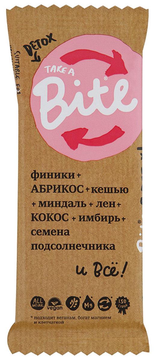 Take A Bite Detox батончик орехово-фруктовый, 45 г4650062590726Большинство людей питается правильно, но иногда все сходят с намеченного пути... Никаких угрызений совести! Просто сделайте перезагрузку с батончиком Take A Bite: абрикос, кокос, и полный детокс! Уважаемые клиенты! Обращаем ваше внимание, что полный перечень состава продукта представлен на дополнительном изображении.