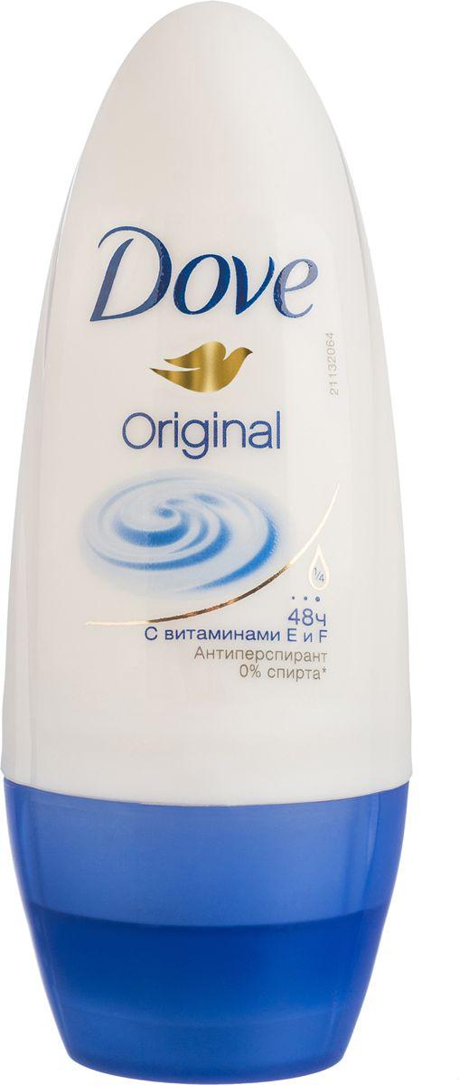 Dove Антиперспирант ролл Оригинал 50 мл21133872Антиперсипрант Dove Оригинал обеспечивает защиту от пота на 48 часов и на 1/4 состоит из особенного увлажняющего крема, который способствует восстановлению кожи после бритья, делая ее более гладкой и нежной.