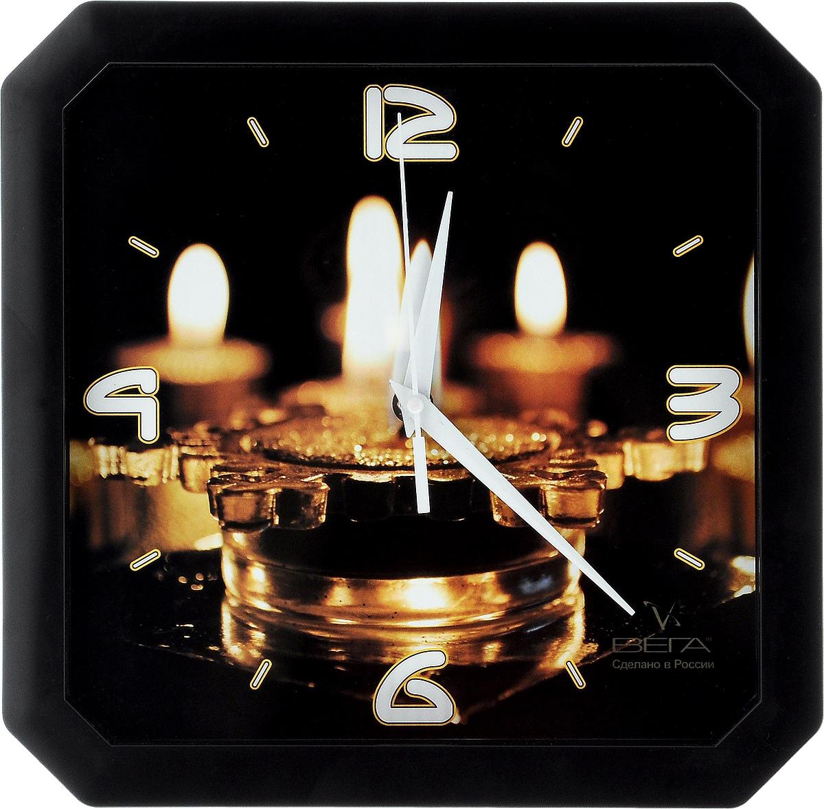 Часы настенные Вега Свечи, 28 х 28 смП4-6/6-59Настенные кварцевые часы Вега Свечи, изготовленные из пластика, прекрасно впишутся в интерьер вашего дома. Часы имеют три стрелки: часовую, минутную и секундную, циферблат защищен прозрачным стеклом. Часы работают от 1 батарейки типа АА напряжением 1,5 В (не входит в комплект). Прилагается инструкция по эксплуатации.