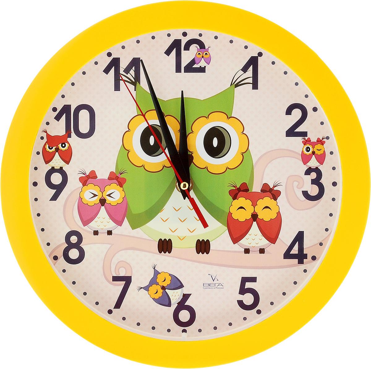 Часы настенные Вега Совы, диаметр 28,5 смП1-2/7-207Настенные кварцевые часы Вега Совы, изготовленные из пластика, прекрасно впишутся в интерьер вашего дома. Часы имеют три стрелки: часовую, минутную и секундную, циферблат защищен прозрачным стеклом. Часы работают от 1 батарейки типа АА напряжением 1,5 В (не входит в комплект). Диаметр часов: 28,5 см.