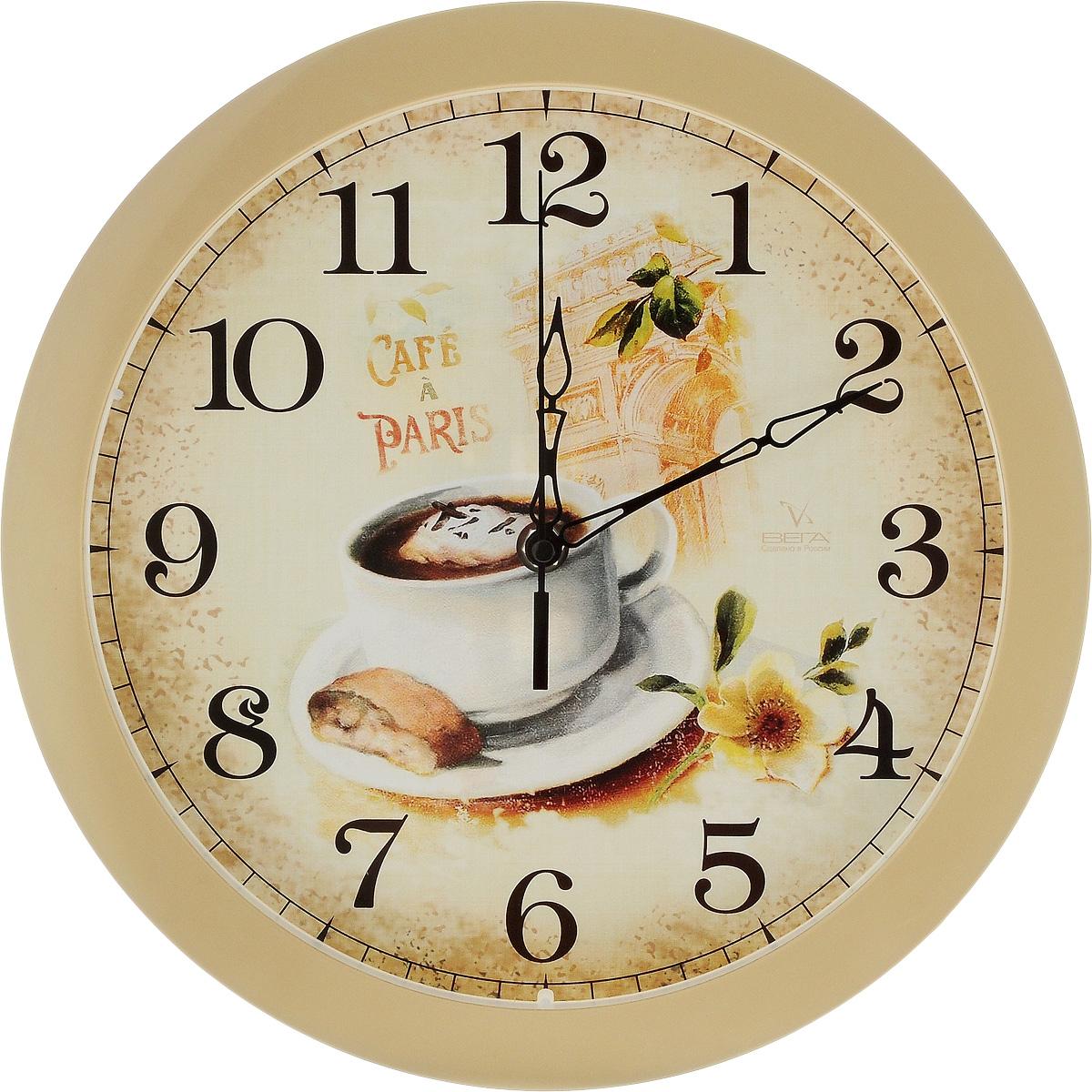 Часы настенные Вега Французский завтрак, диаметр 28,5 смП1-14/7-220Настенные кварцевые часы Вега Французский завтрак, изготовленные из пластика, прекрасно впишутся в интерьер вашего дома. Часы имеют три стрелки: часовую, минутную и секундную, циферблат защищен прозрачным стеклом. Часы работают от 1 батарейки типа АА напряжением 1,5 В (не входит в комплект). Диаметр часов: 28,5 см.