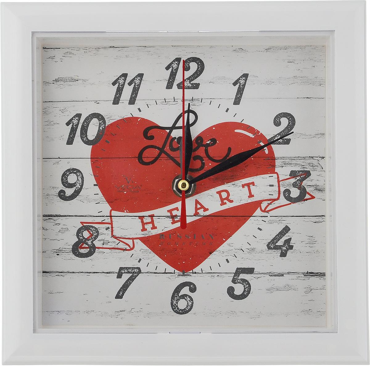 Часы настенные Вега Сердце, 20,6 х 20,6 х 3,5 смП3-7-124Настенные кварцевые часы Вега Сердце, изготовленные из пластика, прекрасно впишутся в интерьер вашего дома. Часы имеют три стрелки: часовую, минутную и секундную, циферблат защищен прозрачным стеклом. Часы работают от 1 батарейки типа АА напряжением 1,5 В (не входит в комплект). Размер часов: 20,6 х 20,6 х 3,5 см.