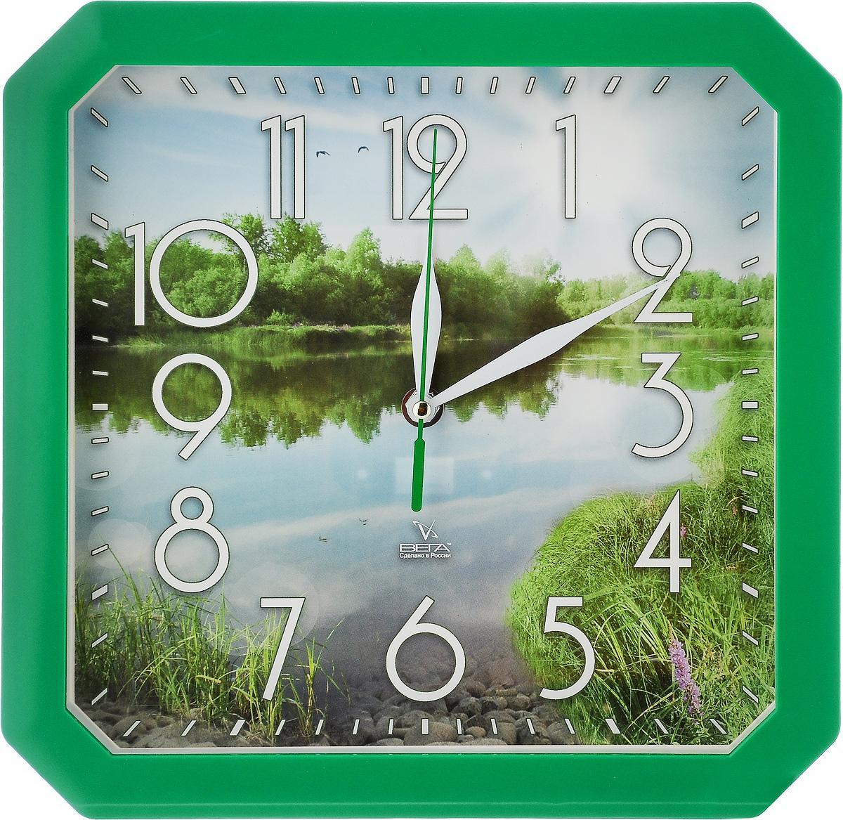Часы настенные Вега Пейзаж, 27,5 х 27,5 х 3,3 смП4-3/7-82Настенные кварцевые часы Вега Пейзаж, изготовленные из пластика, прекрасно впишутся в интерьер вашего дома. Часы имеют три стрелки: часовую, минутную и секундную, циферблат защищен прозрачным стеклом. Часы работают от 1 батарейки типа АА напряжением 1,5 В (не входит в комплект). Размер часов: 27,5 х 27,5 х 3,3 см.