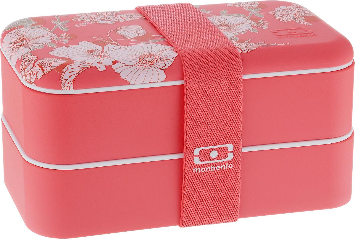 Ланч-бокс Monbento Original Graphic Floral, 1 лVT-1520(SR)Ланчбокс Monbento Original Graphic Floral изготовлен из высококачественного пищевого пластика с приятным на ощупь прорезиненным покрытием soft-touch. Предназначен для хранения и переноски пищевых продуктов. Ланчбокс представляет собой два прямоугольных контейнера, в которых удобно хранить различные блюда. В комплекте также предусмотрена емкость для соуса, которая удобно помещается в одном из контейнеров. Контейнеры вакуумные, что позволяет продуктам дольше оставаться свежими и вкусными. Боксы дополнительно фиксируются друг над другом эластичным ремешком. Компактные размеры позволят хранить ланчбокс в любой сумке. Его удобно взять с собой на работу, отдых, в поездку. Теперь любимая домашняя еда всегда будет под рукой, а яркий дизайн поднимет настроение и подарит заряд позитива. Можно использовать в микроволновой печи и для хранения пищи в холодильнике, можно мыть в посудомоечной машине. В крышке каждого контейнера - специальная пробка, которую надо вытащить, если вы разогреваете еду. Объем одного контейнера: 0,5 л. Общий размер ланчбокса: 18,5 х 9,4 х 10,5 см. Размер одного контейнера: 18,5 х 9,4 х 4,5 см. Размер емкости для соуса: 8,7 х 4,5 х 3,2 см.Объем емкости для соуса: 100 мл.