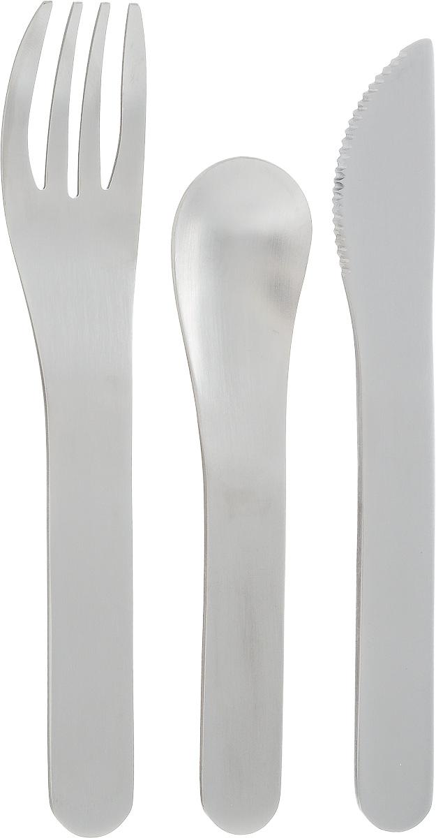 """Набор столовых приборов Monbento """"Pocket"""", в футляре, цвет: серый, стальной, 4 предмета 1007 01 010"""