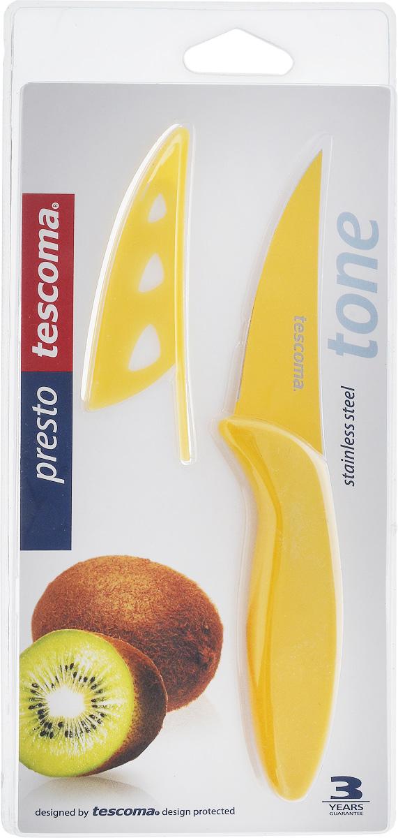 Нож универсальный Tescoma Presto Tone, с чехлом, цвет: желтый, длина лезвия 9 смCM000001328Универсальный нож Tescoma Presto Tone предназначен для нарезки мяса, овощей, фруктов и других продуктов. Лезвие выполнено из высококачественной нержавеющей стали с антиадгезивным покрытием, а ручка из прочного пластика. Продукты не прилипают к лезвию. Изделие легко чистится. В комплект входит защитный чехол для бережного хранения. Можно мыть в посудомоечной машине, не рекомендуется использовать металлические губки и абразивные чистящие средства. Общая длина ножа: 18,7 см.