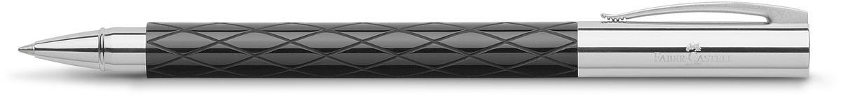 Faber-Castell Ручка роллер Ambition Rhombus148910Роллер высшего качества черный корпус изготовлен из редкой смолы с гравированным дизайном оба конца из хромированного шлифованного металла упругий клип черный стержень с быстросохнущими чернилами индивидуальная подарочная упаковка