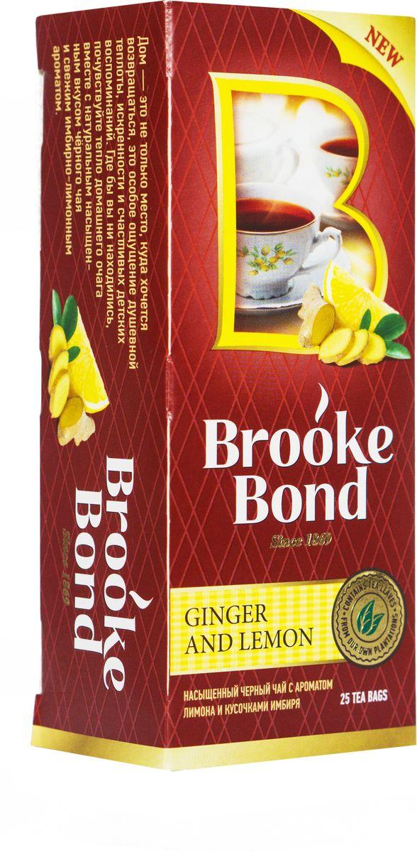 Brooke Bond Черный чай Имбирь и лимон 25 шт0120710Острый и бодрящий микс чая Brooke Bond с имбирем и лимоном повышает энергию и жизненный тонус и помогает сосредоточиться на главном!