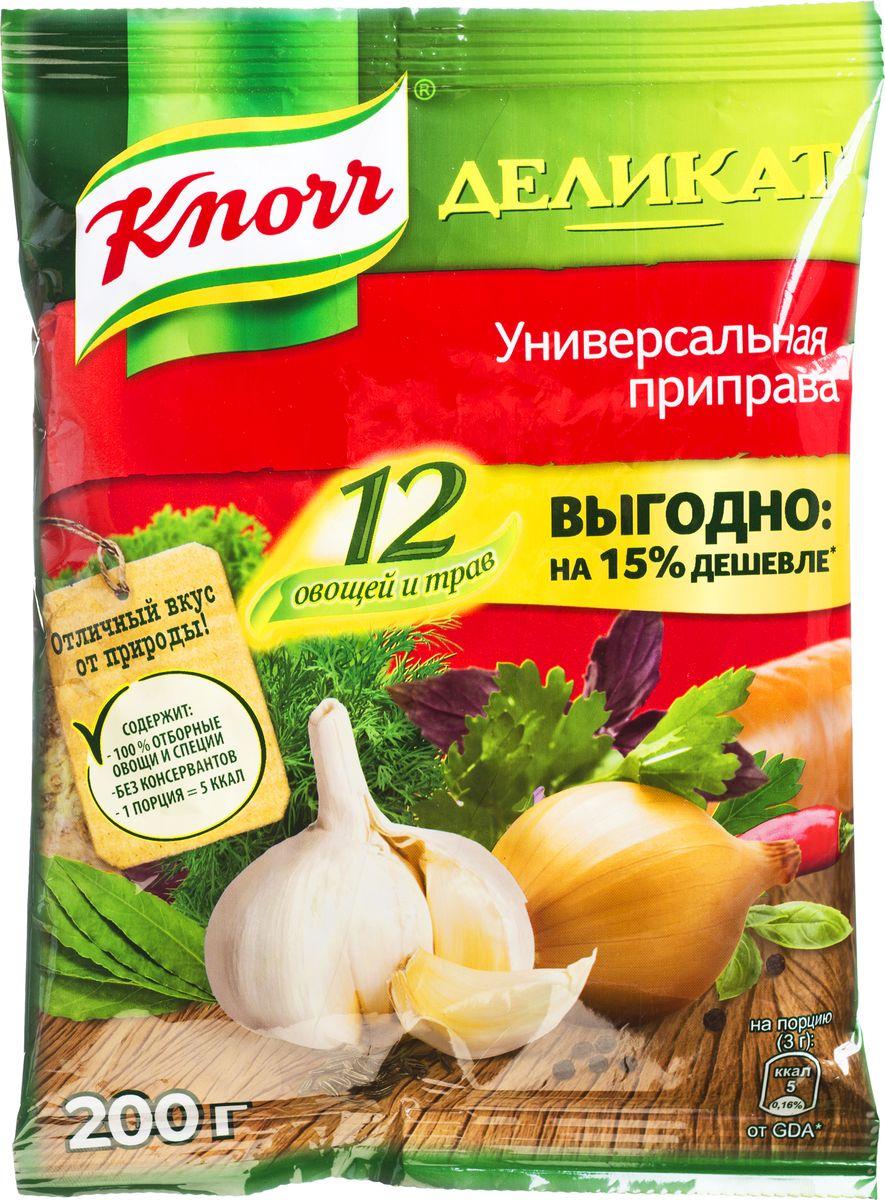 Knorr Универсальная приправа Деликат, 200 г65415106Универсальная приправа Knorr Деликат - это смесь натуральных трав, специй и сушеных овощей, собранных в особой пропорции. Такое сочетание позволяет добиться яркого насыщенного вкуса при приготовлении разнообразных любимых блюд без лишних хлопот. Приправа имеет вид разнородной массы мелкого помола, что позволяет добавить ее сразу во время приготовления. Удобная упаковка не пропускает никаких посторонних запахов, сохраняя все свойства смеси. Кроме того, на ней можно найти рекомендации по использованию, одобренные профессиональными поварами, благодаря чему первые и вторые блюда получатся ароматными и необыкновенно вкусными. Уважаемые клиенты! Обращаем ваше внимание, что полный перечень состава продукта представлен на дополнительном изображении.