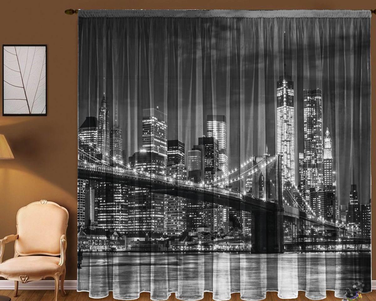 Комплект фототюлей Zlata Korunka Бруклинский мост, на ленте, высота 270 см21135Фототюль - это новинка в мире фотоштор. Для производства используется шифоновая ткань высочайшего качества. Уход: Бережная стирка при 30 градусах, деликатный отжим, отбеливание запрещено. Комплектация и размер: 2 полотна (каждое – шир.145 х выс.270) соединенных поверху, одной шторной лентой. Оттенок изделия может отличаться от представленного на сайте в силу особенностей цветопередачи фототехники и Вашего монитора.
