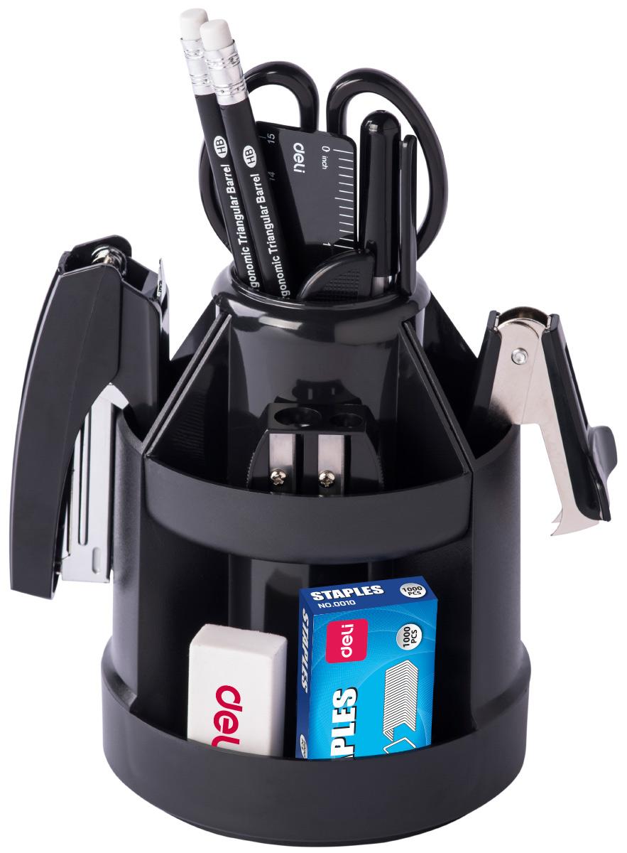 Deli Канцелярский набор цвет черный 17 предметовE38251AВращающийся настольный набор включает 17 предметов: нож, скрепки, ножницы, гвоздики, зажимы, ластик, 2 карандаша, скобы, диспенсер для скотча, скотч, 2 ручки, линейку, точилку, степлер.