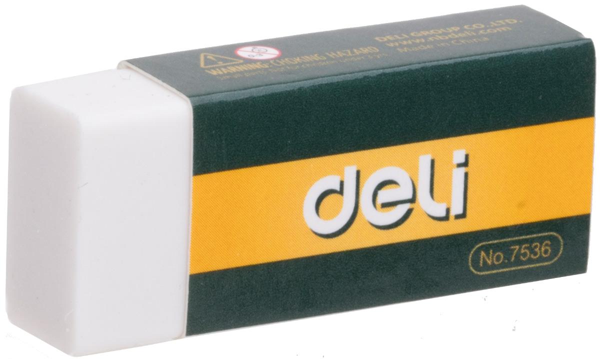 Deli Ластик цвет белый E7536E7536Ластик Deli имеет мягкую структуру, обладает высокой гибкостью, обеспечивая безупречное стирание. Ластик изготовлен из каучука и упакован в индивидуальную картонную упаковку.