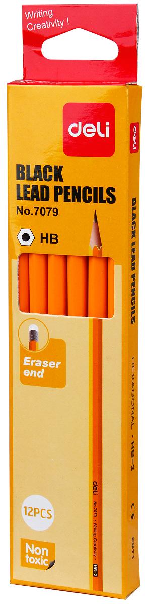 Deli Набор чернографитных карандашей с ластиком цвет желтый 12 шт610842Набор чернографитных карандашей Deli из натурального дерева предназначен для чертежных и художественных работ. Отлично подойдет для занятий графикой. Карандаши комплектуется ластиком. В наборе 6 карандашей с корпусом желтого цвета.
