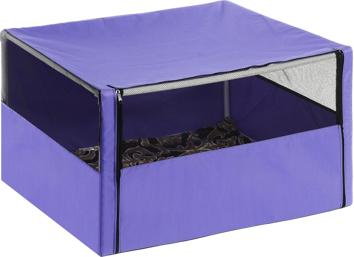 Клетка-вольер для животных Elite Valley, цвет: фиолетовый, черный, 90 х 70 х 70 смВ-1/3_фиолетовыйКлетка-вольер Elite Valley, выполненная из текстиля, продумана таким образом, что может служить, как выставочная палатка для кошек и собак, а также применима для домашнего содержания животных. Клетка-вольер Elite Valley обладает многочисленными преимуществами: - вольер выполнен из высококачественной и очень прочной ткани; - вольер разборный, в комплект входит сборный каркас из труб с соединительными уголками; - в сложенном виде вольер довольно компактен, при хранении занимает мало места; - вольер хранится и переносится в чехле, который входит в комплект; - в комплект входит мягкая подстилка из микрофибры; - вольер довольно объемный, поэтому подойдет как для одной собаки или кошки, так и для нескольких собак или кошек; - три стороны палатки выполнены наполовину из сетки, что способствует свободной циркуляции воздуха.
