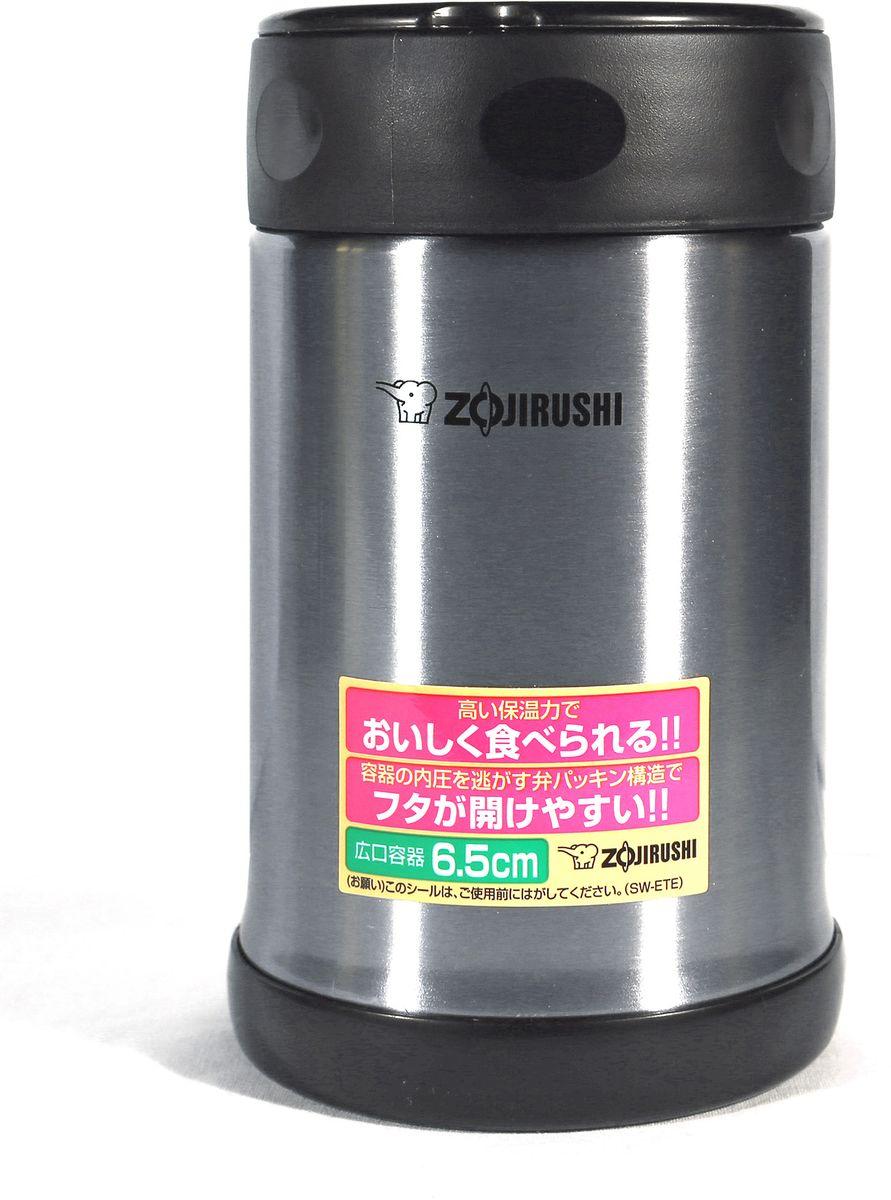 Термоконтейнер Zojirushi, цвет: черный металлик, 0,5 лSW-ETE 50-XAТермоконтейнер(термос) с широким горлом для ланча, всемирно известной японской компании ZOJIRUSHI, позволяет сохранить горячим или холодным одно блюдо или напиток. Благодаря тефлоновому покрытию еда не имеет прямого контакта с металлом, сохраняя свой изначальный вкус. Ориентировочное значение температуры для полностью заполненного термоса при начальной температуре жидкости в термосе 95 °C и температуре окружающего воздуха 20 °C через 6 часов: 64 °C. За легкость и прочность, сочетающиеся с великолепным сохранением температуры находящихся внутри продуктов, их по достоинству оценили любители активного отдыха. Так же будет практичным решением, для тех, кто привык брать обед на работу или для ребенка, который может взять горячее питание в школу. В комплект входит удобная и надежная сумка для переноски и хранения. Объем 0,5 л. Диаметр макс: 90 мм. Высота: 150 мм. Вес : 0,32кг. Вес с сумкой 0,4 кг