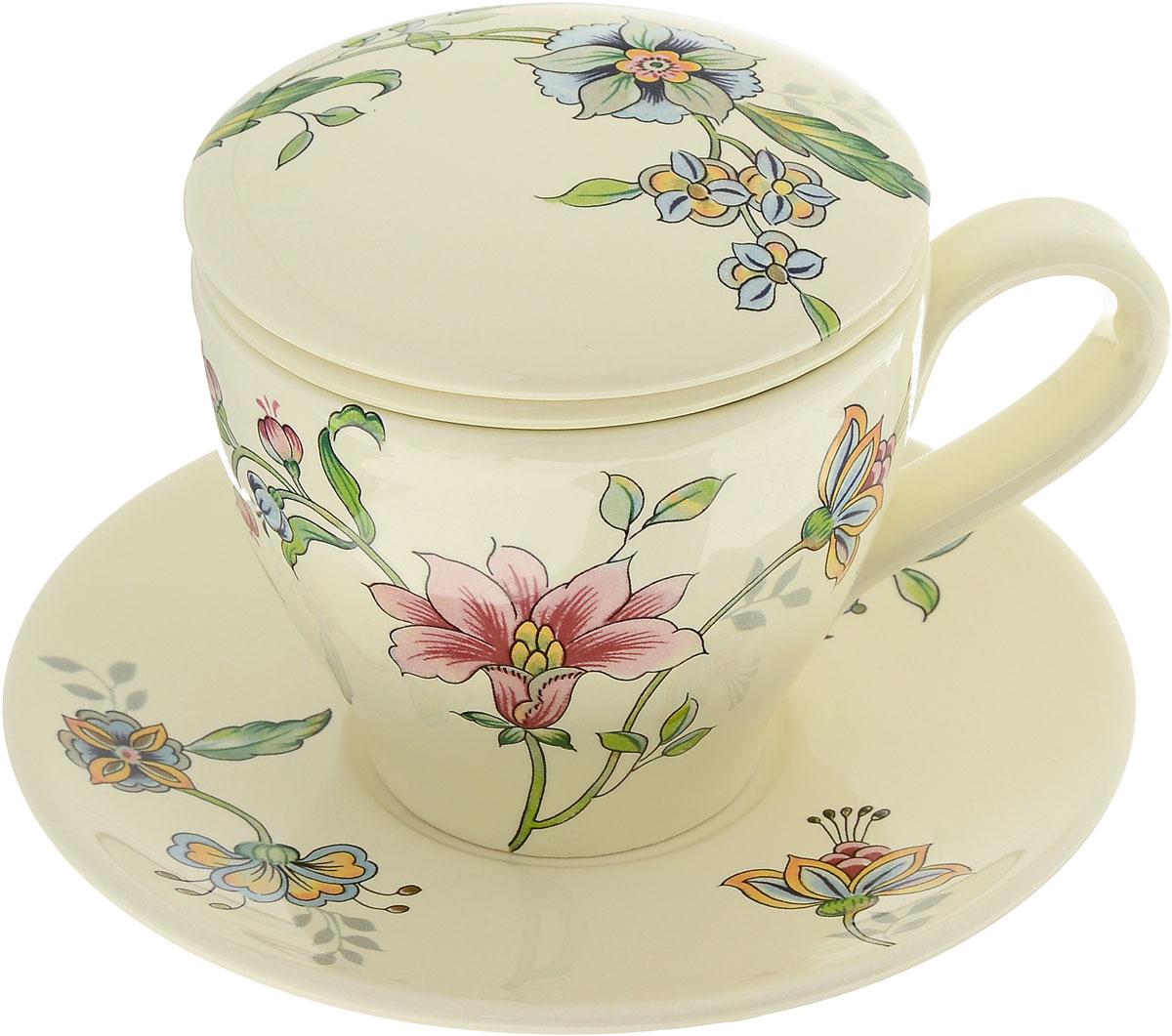 Набор чайный Nuova Cer Прованс, 4 предмета115510Чайный набор Nuova Cer Прованс состоит из чашки, заварочного фильтра, крышки и блюдца, изготовленных из высококачественной керамики. Изделия оформлены цветочным узором. Красочность оформления придется по вкусу и ценителям классики, и тем, кто предпочитает утонченность и изысканность. Такой набор прекрасно дополнит сервировку стола к чаепитию и подчеркнет ваш безупречный вкус.Чайный набор Nuova Cer Прованс - это прекрасный подарок к любому случаю. Изделия нельзя мыть в посудомоечной машине.Объем чашки: 400 мл.Диаметр чашки (по верхнему краю): 10 см.Высота чашки: 9 см.Диаметр фильтра: 8,5 см.Высота фильтра: 6 см.Диаметр крышки: 10,5 см.Диаметр блюдца: 17 см.Высота блюдца: 2 см.