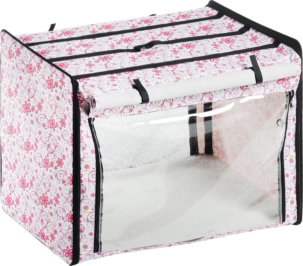 Клетка выставочная Elite Valley, цвет: белый, розовый, зеленый, 75 х 52 х 62 смК-2_белый фон, цветыКлетка Elite Valley предназначена для показа кошек и собак на выставках. Она выполнена из плотного текстиля, каркас - металлический. Клетка оснащена съемными пленкой и сеткой. Внутри имеется мягкая подстилка, выполненная из искусственного меха. Прозрачную пленку можно прикрыть шторкой. Сверху расположена ручка для переноски. В комплекте сумка-чехол для удобной транспортировки.