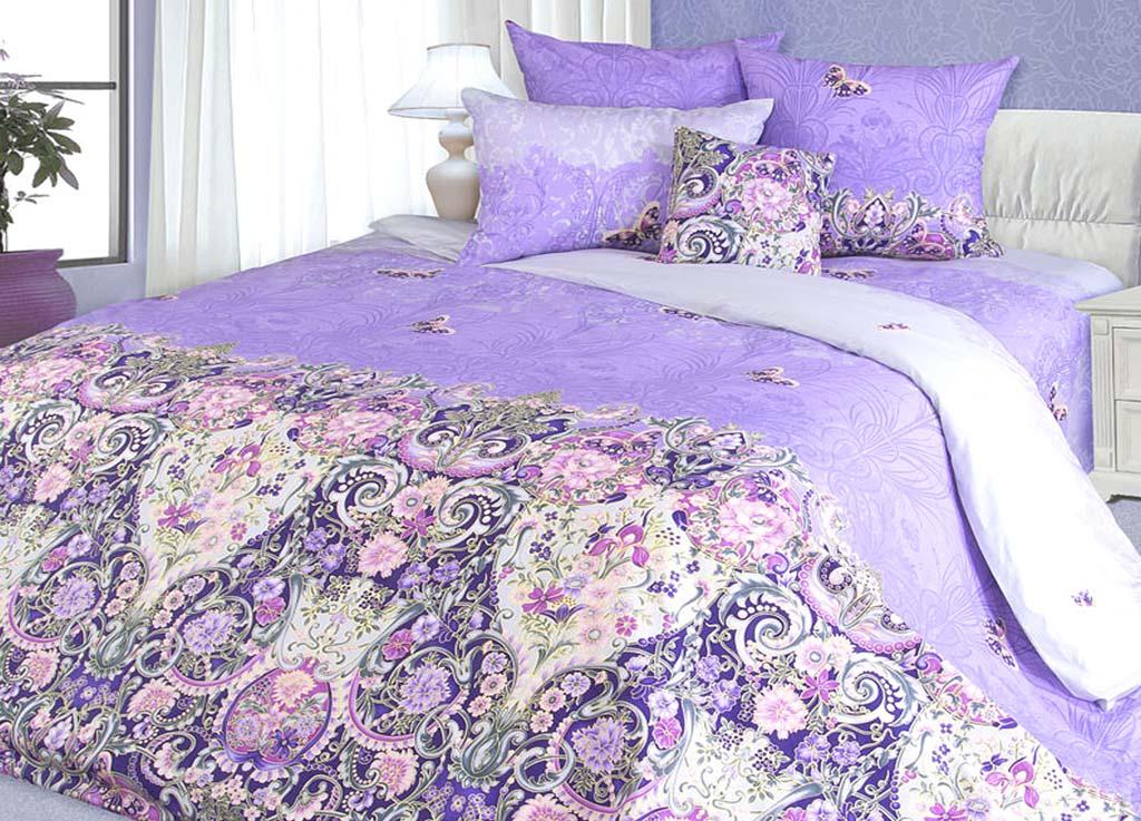 Комплект белья Primavera Узоры, евро, наволочки 70x70, 50x70, цвет: сиреневый81132