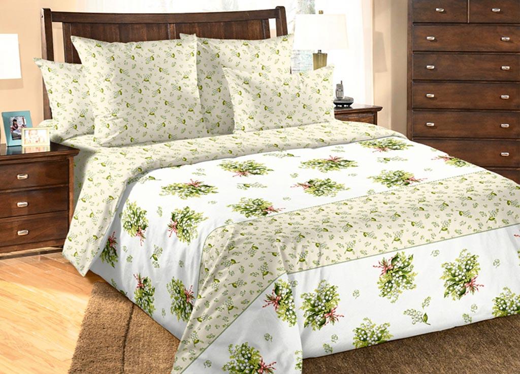 Комплект белья Primavera Букет ландышей, евро, наволочки 70x70, 50x70, цвет: белый86765