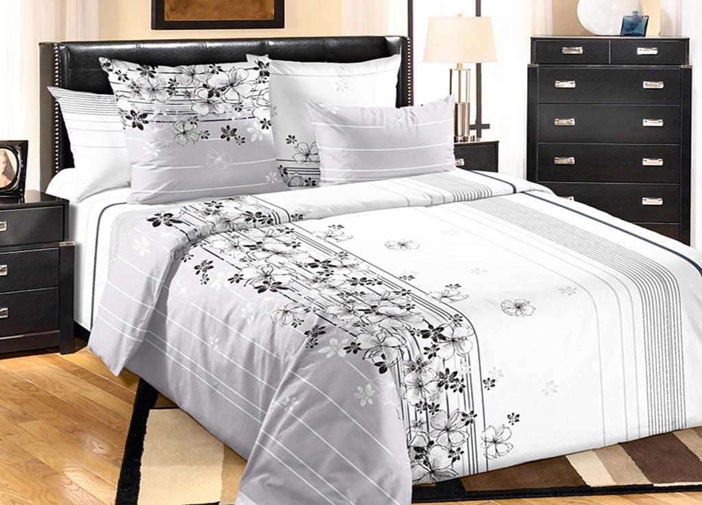 Комплект белья Primavera Утро, евро, наволочки 70x70, 50x70, цвет: серый87861